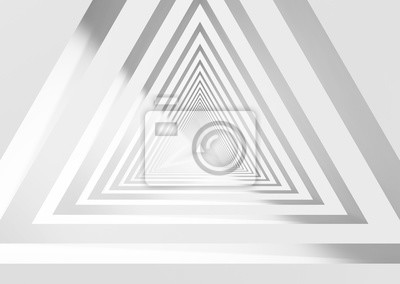 Abstract white triangular tunnel 3d