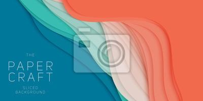 Sticker Abstrait 3D de vecteur avec du papier découpé forme. Art de la sculpture colorée. Artisanat en papier Paysage de canyon antilope avec dégradé de couleurs. Design minimaliste pour les présentations com