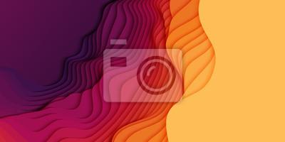 Sticker Abstrait 3D Vector avec du papier découpé des formes. Art de la sculpture colorée. Paysage artisanal en papier avec dégradé de couleurs. Disposition de conception minimaliste pour les présentations co