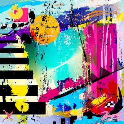 Sticker abstrait, avec des carrés, des triangles, des traits de peinture et