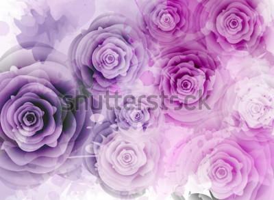 Sticker Abstrait avec des roses et des éléments de splash grunge