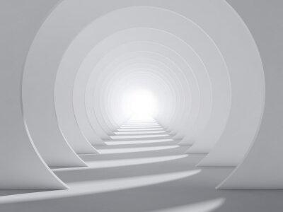 Abstrait blanc 3d intérieur du tunnel rond