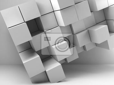Abstrait blanc cubes 3d intérieur salle vide