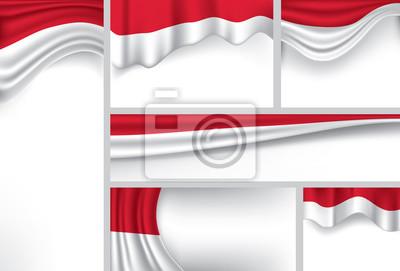 Sticker Abstrait Drapeau de l'Indonésie, couleurs indonésiennes (Art Vecteur)