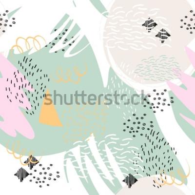 Sticker Abstrait géométrique avec des coups de pinceau dans le style de Memphis. Modèle sans couture de vecteur avec des éléments dessinés à la main. Couleurs pastel claires.