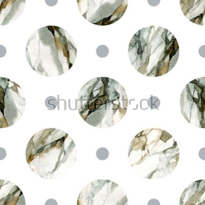 Sticker Abstrait géométrique. Peinture sur marbre en couleur eau. Modèle sans couture de cercle aquarelle. Cercles aquarellés, marbrés, texturés et texturés. Illustration peinte à la main