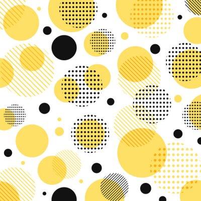 Sticker Abstrait moderne jaune, motif de points noirs avec des lignes en diagonale sur fond blanc.