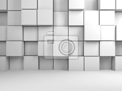 Abstrait numérique blanc, cubes 3d