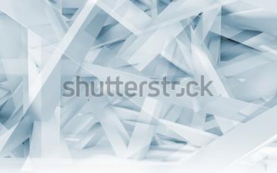Sticker Abstrait numérique, modèle polygonale de poutres chaotiques bleu et blanc. Illustration 3d tonique bleu, infographie