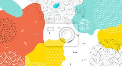 Sticker Abstrait pop art couleur peinture splash de fond. Conception géométrique de superposition de vecteur de style branché de Memphis des années 80-90