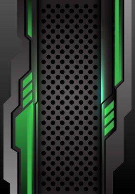 Sticker Abstrait vert gris foncé futuriste sur cercle maille conception illustration vectorielle de fond futuriste moderne.