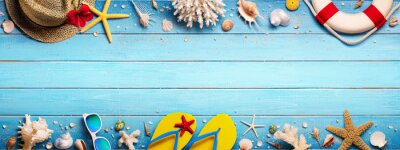 Sticker Accessoires de plage sur Blue Plank - Summer Holiday Banner