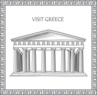 Sticker Acropole d'Athènes, Grèce. Visitez carte Grèce. Ornement vector frame grecque traditionnelle.