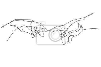 Sticker Adam and God hands one line drawing on white isolated background