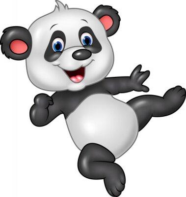 Sticker Adorable bébé panda isolé sur fond blanc