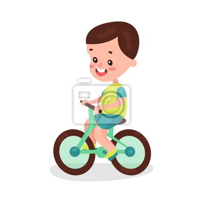 Sticker Adorable Brunette Petit Garçon équitation Vélo Dessin Animé