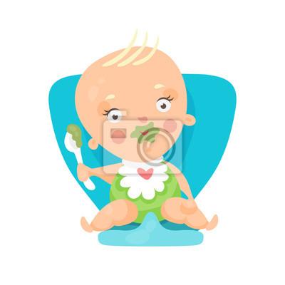 Chaise Animé Bleue Et Manger Assis Sur Une Adorable Dessin