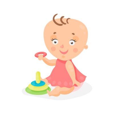 Adorable Dessin Animé Bébé Fille Rose Robe Jouer Pyramide