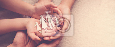 Sticker Adult and children hands holding paper family cutout, family home, foster care, homeless support concept