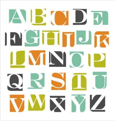 Sticker affiche abstraite de l'alphabet moderne