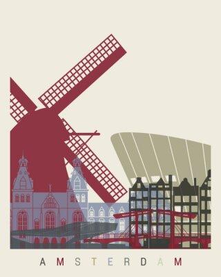 Sticker Affiche d'horizon d'Amsterdam
