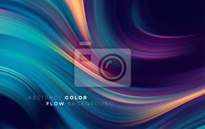 Sticker Affiche moderne de flux coloré. Forme liquide Wave sur fond de couleur noire. Art design pour votre projet de design. Illustration vectorielle