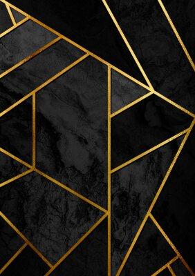 Sticker Affiche moderne et élégante de conception abstraite avec des lignes dorées et un motif géométrique noir.