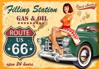 Sticker Affiche rétro de la station-service
