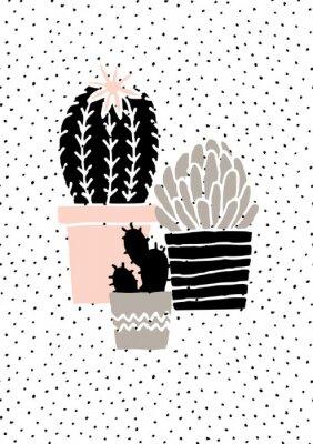 Sticker Affiche tirée par la main de cactus