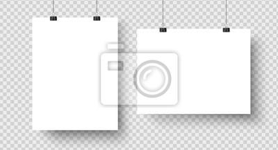 Sticker Affiches vierges blanches suspendues à des classeurs. Page de papier A4, feuille sur le mur. Maquette de vecteur