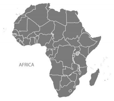 Sticker Afrique Carte avec pays gris