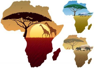 Sticker Afrique Carte Paysages / Trois paysages africains sur la carte de l'Afrique.