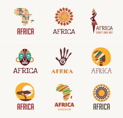Sticker Afrique, icônes safari et ensemble d'éléments