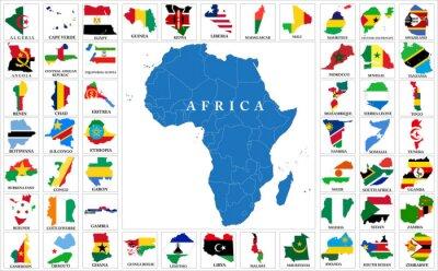 Sticker Afrique, pays, drapeau, cartes
