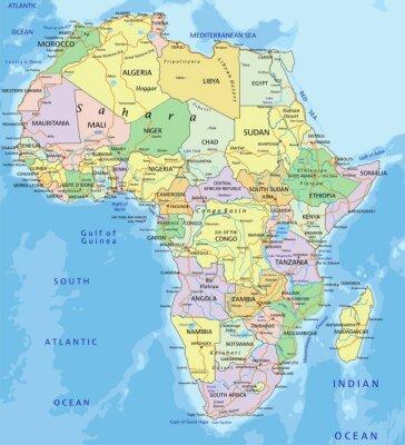 Sticker Afrique - très détaillée carte politique modifiable.