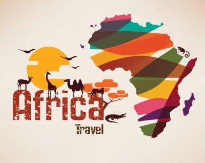 Sticker Afrique, voyage, carte, décritif, Symbole, africa ...