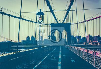 Afterglow de coucher de soleil en face du pont de Brooklyn