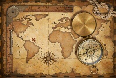 Sticker âgé carte au trésor, une règle, une corde et vieux compas en laiton avec couvercle