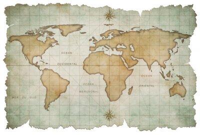 Sticker âgés de carte du monde isolé sur blanc