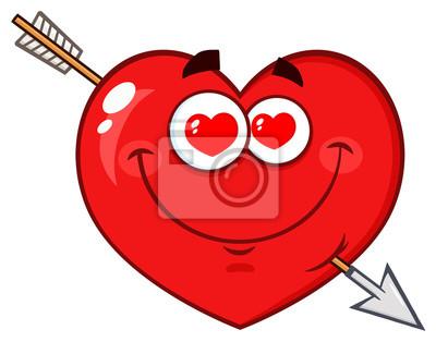 Aimer Le Coeur Rouge Dessin Anime Emoji Visage Avec Des Yeux