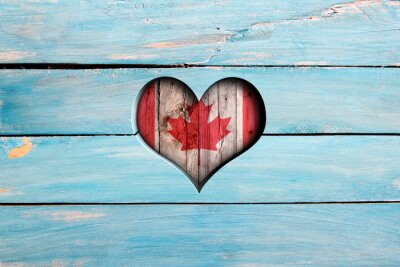 Sticker Aimez le Canada. Coeur, drapeau, bleu, bois, planche