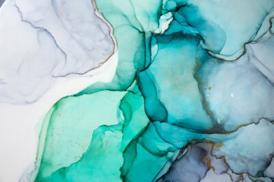 Sticker Alcohol ink sea texture. Contemporary art. Spots of oil paint. Abstract art background. Multicolored bright texture. Fragment of artwork. Modern art. Inspired by the sky, as well as steam and smoke.
