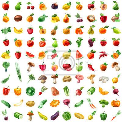 alimentaire. fruits et légumes, icône, ensemble