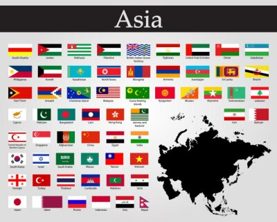 Sticker All flags of Asia. Vector illustration. World flags