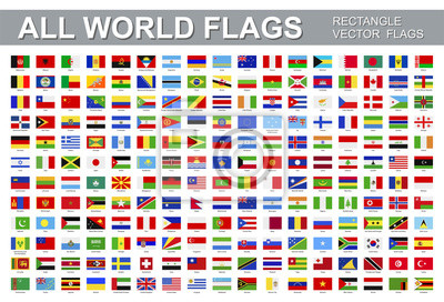 Sticker All world flags - vector set of rectangular icons. Flags of all countries and continents