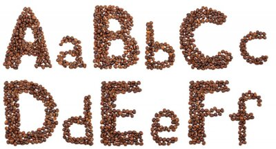 Sticker Alphabet, café, haricots, isolé