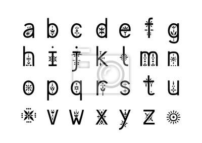 Alphabet Daffichage De Vecteur Lettres Minuscules Décorées Stickers