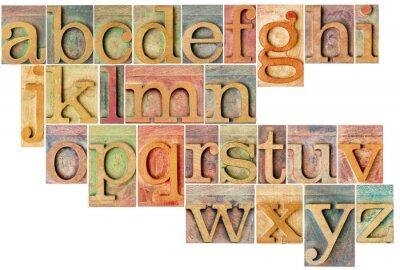 Sticker alphabet dans le type en bois