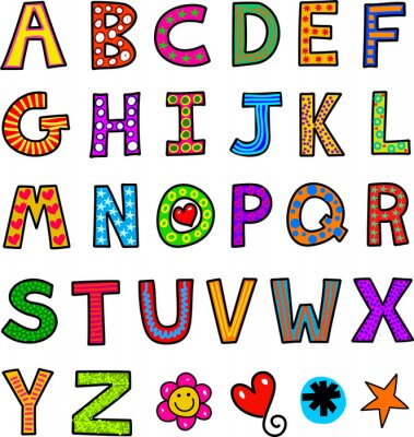 Sticker Alphabet Doodle Text