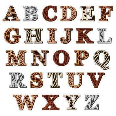 Sticker Alphabet latin avec imprimé animal
